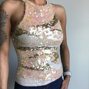 Cache Squared Sequined Tank